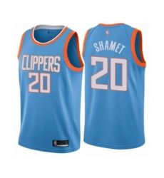 Men's Los Angeles Clippers #20 Landry Shamet Authentic Blue Basketball Jersey - City Edition