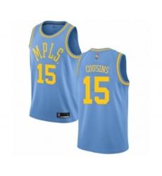 Men's Los Angeles Lakers #15 DeMarcus Cousins Authentic Blue Hardwood Classics Basketball Jersey