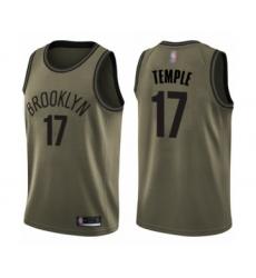 Men's Brooklyn Nets #17 Garrett Temple Swingman Green Salute to Service Basketball Jersey