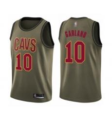 Men's Cleveland Cavaliers #10 Darius Garland Swingman Green Salute to Service Basketball Jersey