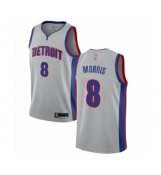 Men's Detroit Pistons #8 Markieff Morris Authentic Silver Basketball Jersey Statement Edition