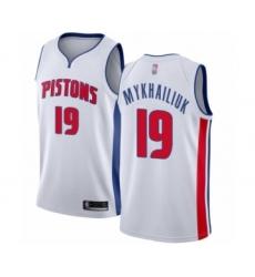 Men's Detroit Pistons #19 Sviatoslav Mykhailiuk Authentic White Basketball Jersey - Association Edition
