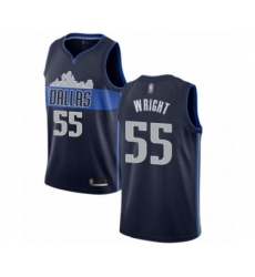 Men's Dallas Mavericks #55 Delon Wright Authentic Navy Blue Basketball Jersey Statement Edition