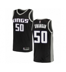 Men's Sacramento Kings #50 Caleb Swanigan Authentic Black Basketball Jersey Statement Edition