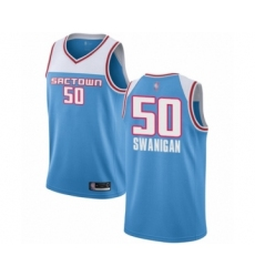 Men's Sacramento Kings #50 Caleb Swanigan Authentic Blue Basketball Jersey - 2018-19 City Edition