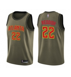 Men's Atlanta Hawks #22 Cam Reddish Swingman Green Salute to Service Basketball Jersey