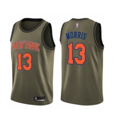 Men's New York Knicks #13 Marcus Morris Swingman Green Salute to Service Basketball Jersey