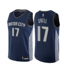 Men's Detroit Pistons #17 Tony Snell Authentic Navy Blue Basketball Jersey - City Edition