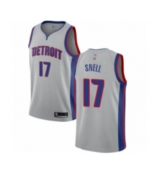 Men's Detroit Pistons #17 Tony Snell Authentic Silver Basketball Jersey Statement Edition