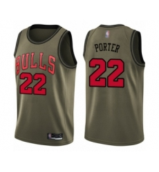 Men's Chicago Bulls #22 Otto Porter Swingman Green Salute to Service Basketball Jersey