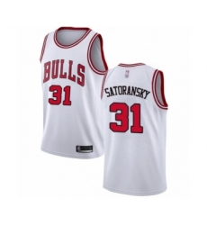 Men's Chicago Bulls #31 Tomas Satoransky Authentic White Basketball Jersey - Association Edition