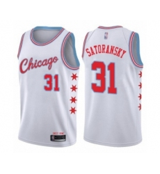 Men's Chicago Bulls #31 Tomas Satoransky Authentic White Basketball Jersey - City Edition