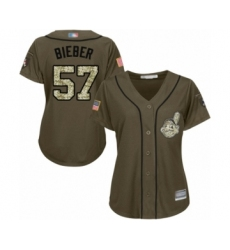 Women's Cleveland Indians #57 Shane Bieber Authentic Green Salute to Service Baseball Jersey