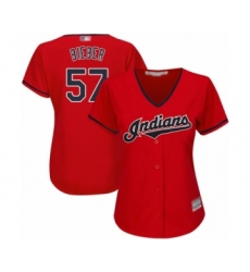 Women's Cleveland Indians #57 Shane Bieber Authentic Scarlet Alternate 2 Cool Base Baseball Jersey