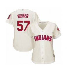 Women's Cleveland Indians #57 Shane Bieber Authentic White Home Cool Base Baseball Jersey