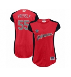 Women's Houston Astros #55 Ryan Pressly Authentic Red American League 2019 Baseball All-Star Jersey