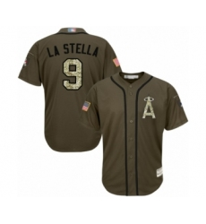 Men's Los Angeles Angels of Anaheim #9 Tommy La Stella Authentic Green Salute to Service Baseball Jersey