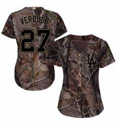 Women's Los Angeles Dodgers #27 Alex Verdugo Camo Realtree Collection Cool Base Stitched Baseball Jersey