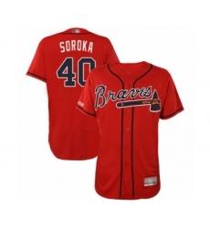Men's Atlanta Braves #40 Mike Soroka Red Alternate Flex Base Authentic Collection Baseball Jersey