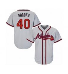 Men's Atlanta Braves #40 Mike Soroka Replica Grey Road Cool Base Baseball Jersey
