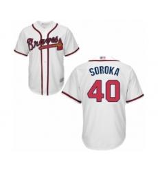 Men's Atlanta Braves #40 Mike Soroka Replica White Home Cool Base Baseball Jersey