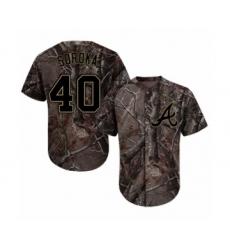 Youth Atlanta Braves #40 Mike Soroka Authentic Camo Realtree Collection Flex Base Baseball Jersey
