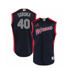 Youth Atlanta Braves #40 Mike Soroka Authentic Navy Blue National League 2019 Baseball All-Star Jersey