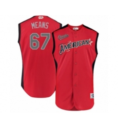 Men's Baltimore Orioles #67 John Means Authentic Red American League 2019 Baseball All-Star Jersey