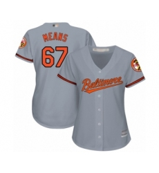 Women's Baltimore Orioles #67 John Means Authentic Grey Road Cool Base Baseball Jersey