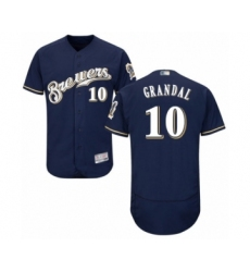 Men's Milwaukee Brewers #10 Yasmani Grandal Navy Blue Alternate Flex Base Authentic Collection Baseball Jersey