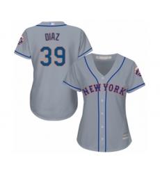 Women's New York Mets #39 Edwin Diaz Authentic Grey Road Cool Base Baseball Jersey