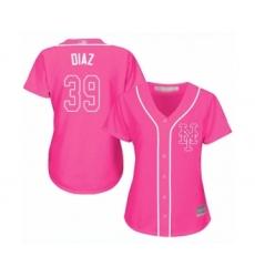 Women's New York Mets #39 Edwin Diaz Authentic Pink Fashion Cool Base Baseball Jersey