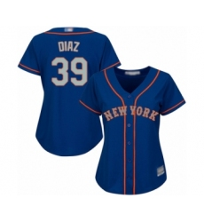 Women's New York Mets #39 Edwin Diaz Authentic Royal Blue Alternate Road Cool Base Baseball Jersey