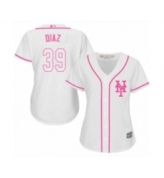 Women's New York Mets #39 Edwin Diaz Authentic White Fashion Cool Base Baseball Jersey