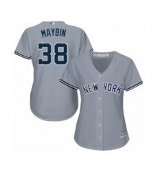 Women's New York Yankees #38 Cameron Maybin Authentic Grey Road Baseball Jersey