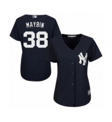 Women's New York Yankees #38 Cameron Maybin Authentic Navy Blue Alternate Baseball Jersey
