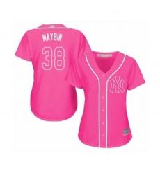 Women's New York Yankees #38 Cameron Maybin Authentic Pink Fashion Cool Base Baseball Jersey