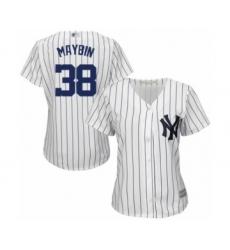 Women's New York Yankees #38 Cameron Maybin Authentic White Home Baseball Jersey