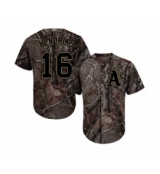 Men's Oakland Athletics #16 Liam Hendriks Authentic Camo Realtree Collection Flex Base Baseball Jersey