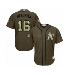 Men's Oakland Athletics #16 Liam Hendriks Authentic Green Salute to Service Baseball Jersey