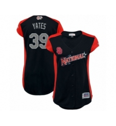 Women's San Diego Padres #39 Kirby Yates Authentic Navy Blue National League 2019 Baseball All-Star Jersey