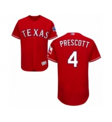 Men's Texas Rangers #4 Dak Prescott Red Alternate Flex Base Authentic Collection Baseball Jersey