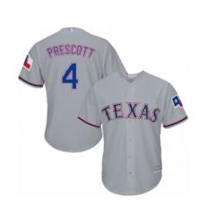 Men's Texas Rangers #4 Dak Prescott Replica Grey Road Cool Base Baseball Jersey