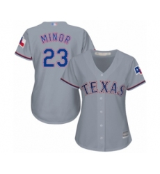 Women's Texas Rangers #23 Mike Minor Authentic Grey Road Cool Base Baseball Jersey