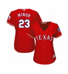 Women's Texas Rangers #23 Mike Minor Authentic Red Alternate Cool Base Baseball Jersey