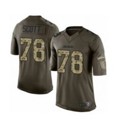 Men's Los Angeles Chargers #78 Trent Scott Limited Green Salute to Service Football Jersey
