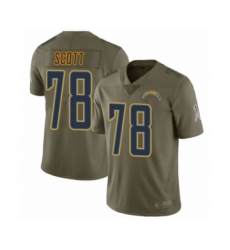 Men's Los Angeles Chargers #78 Trent Scott Limited Olive 2017 Salute to Service Football Jersey