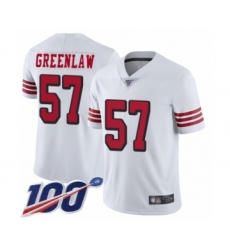 Men's San Francisco 49ers #57 Dre Greenlaw Limited White Rush Vapor Untouchable 100th Season Football Jersey