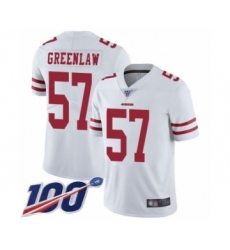 Men's San Francisco 49ers #57 Dre Greenlaw White Vapor Untouchable Limited Player 100th Season Football Jersey