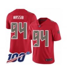 Men's Tampa Bay Buccaneers #94 Carl Nassib Limited Red Rush Vapor Untouchable 100th Season Football Jersey